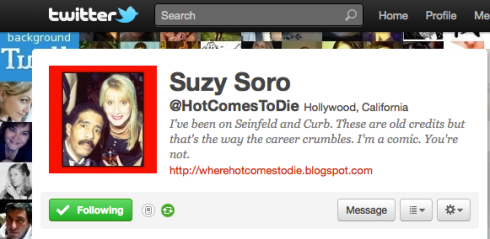 Twitter profile Suzy Soro